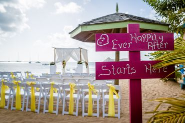 Outdoor pink wedding signs