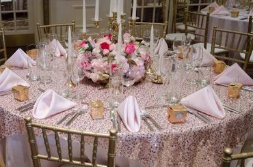 Overseas pink wedding reception decor