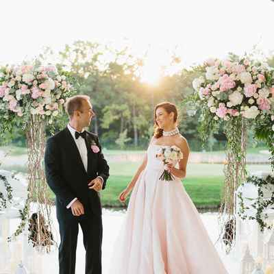 Outdoor summer pink long wedding dresses