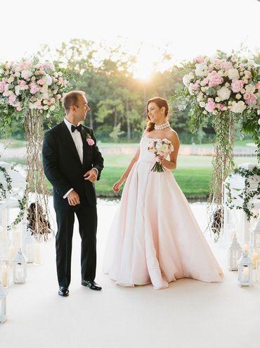 Outdoor summer pink long wedding dresses
