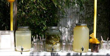 Outdoor yellow wedding reception decor