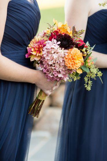 Red hydrangea wedding bouquet