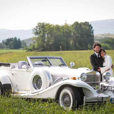 Outdoor white wedding transport