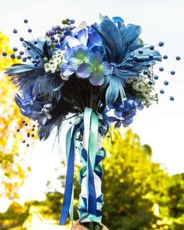 Blue alternative wedding bouquet