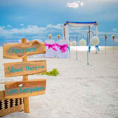 Beach brown wedding signs