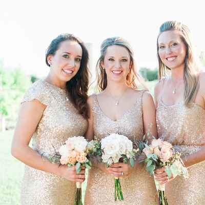 Outdoor gold bridesmaids