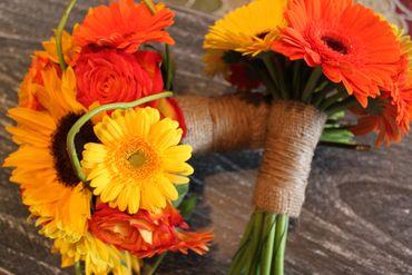 Yellow gerbera wedding bouquet