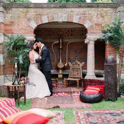 Ethnical white wedding photo session decor