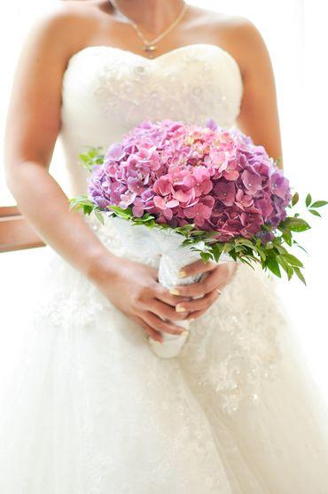 Pink hydrangea wedding bouquet