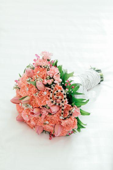 Orange tulip wedding bouquet