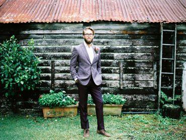 Outdoor purple groom style