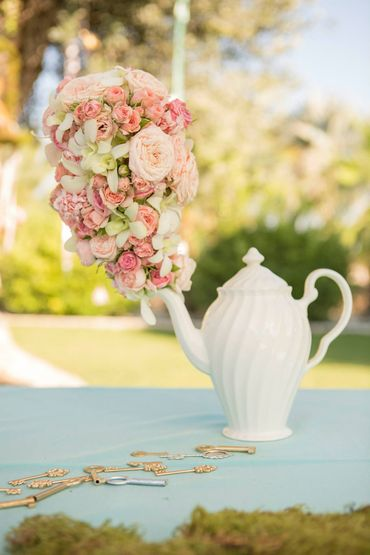 Outdoor pink wedding reception decor