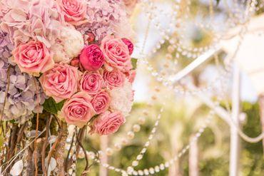 Outdoor pink wedding floral decor