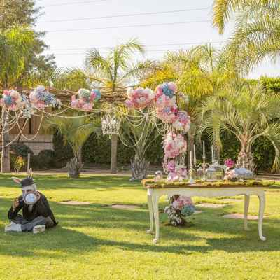 Outdoor ivory wedding ceremony decor