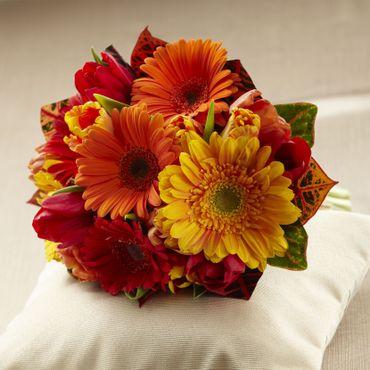 Red gerbera wedding bouquet