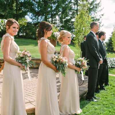Outdoor ivory bridesmaids