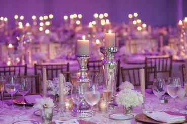 Overseas purple wedding reception decor