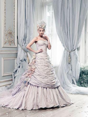 Purple long wedding dresses