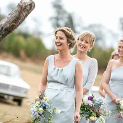 Outdoor grey bridesmaids