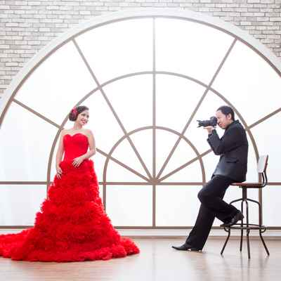 Overseas red long wedding dresses