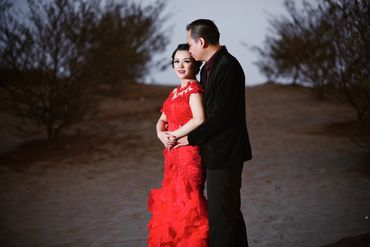 Outdoor red closed wedding dresses