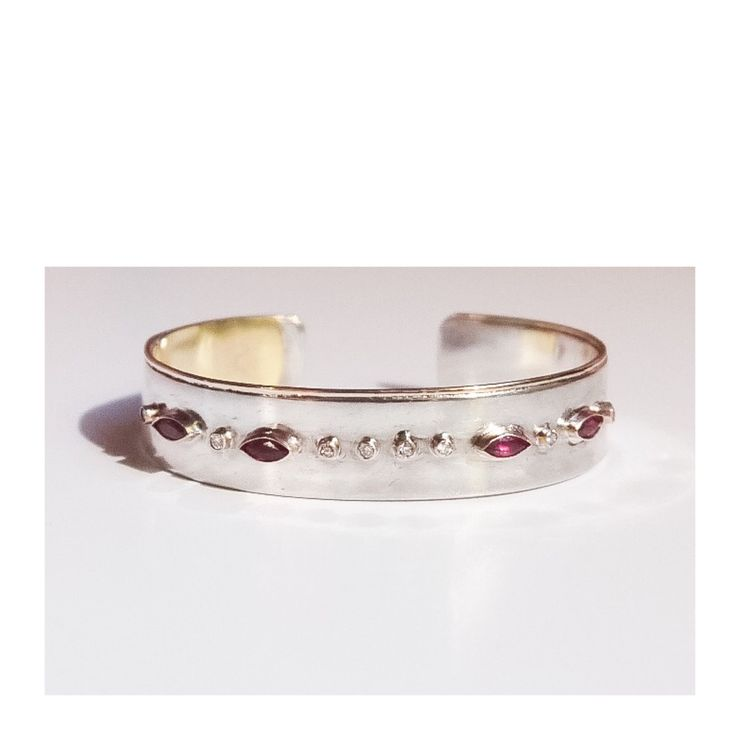 Old Antique Diamond Ring made into a Silver/Gold Cuff