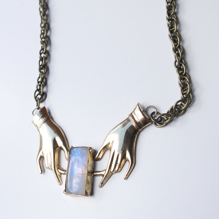 Hand Stampings and Labradorite/Moonstone