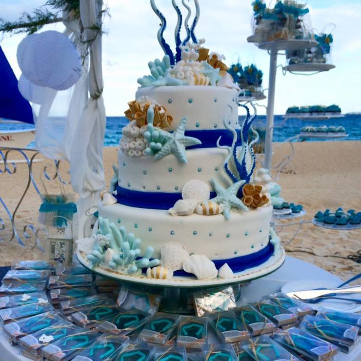 Sea motif wedding cakes