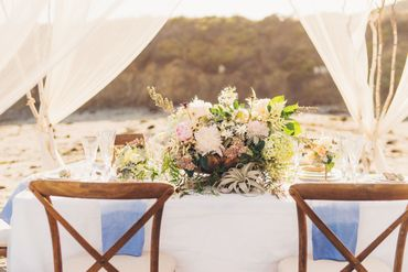 Beach wedding reception decor