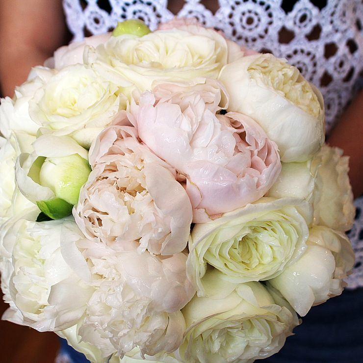 Bridal bouquets; peonies, hydrangea, roses, garden roses, calla lilies, baby's breath, orchids