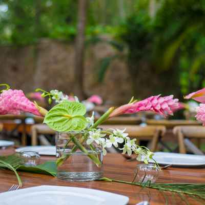 Outdoor green wedding floral decor