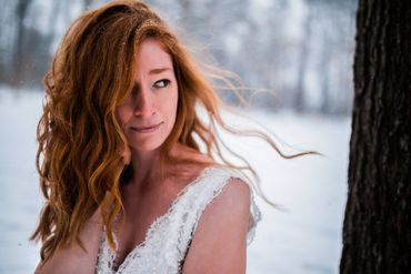 Outdoor winter bridal hair and make-up