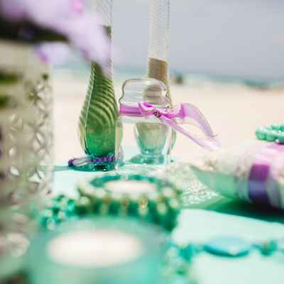 Beach wedding reception decor