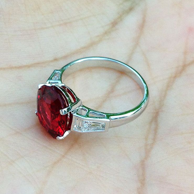 Vivid Red Spinel with Diamonds Anniversary Ring