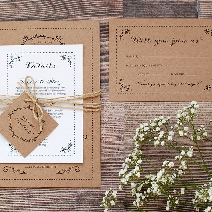 Rustic Botanical Invitations