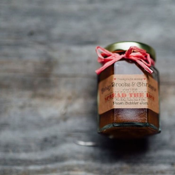 Rustic Peach Wedding Jam Favors