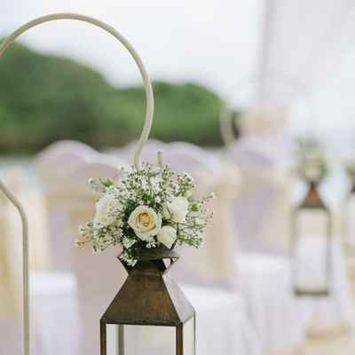 Beach ivory wedding ceremony decor