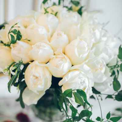 Ivory peony wedding bouquet