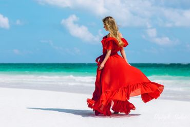 Red beach long wedding dresses
