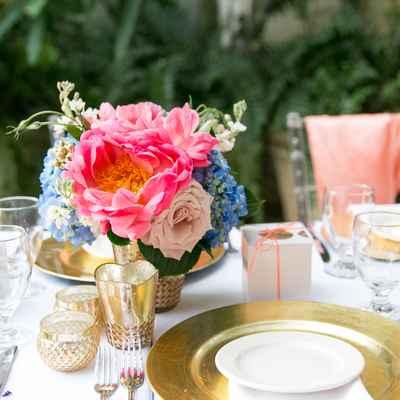 Pink outdoor wedding reception decor