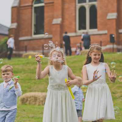 Ivory outdoor kids at wedding