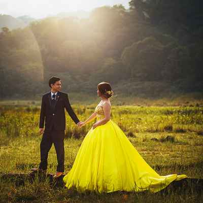 Yellow outdoor long wedding dresses