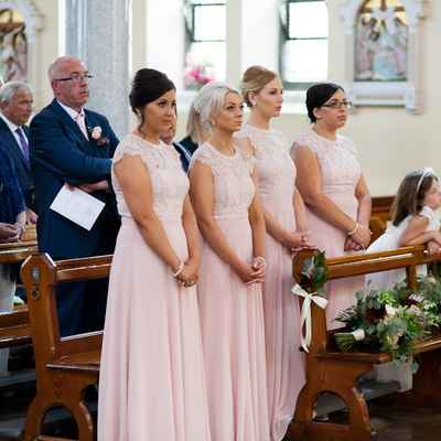 Pink overseas bridesmaids