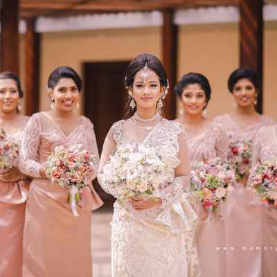 White outdoor bridesmaids