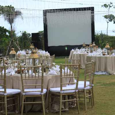 Ivory outdoor wedding reception decor