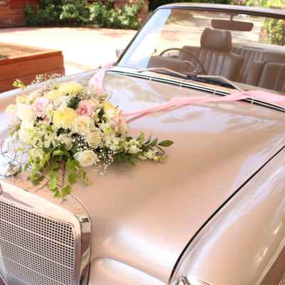 White wedding transport decor