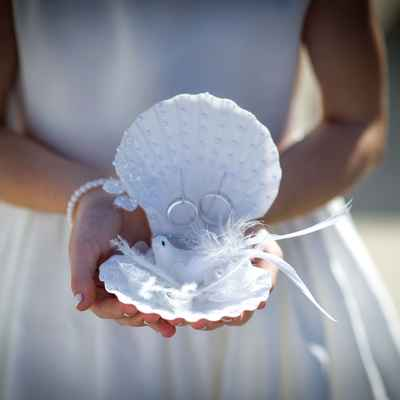 White marine wedding ring pillows