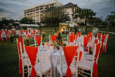 White outdoor wedding reception decor