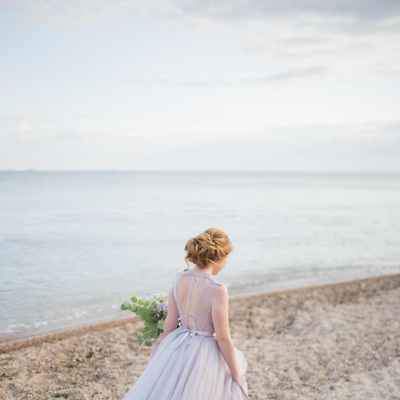 Purple beach long wedding dresses