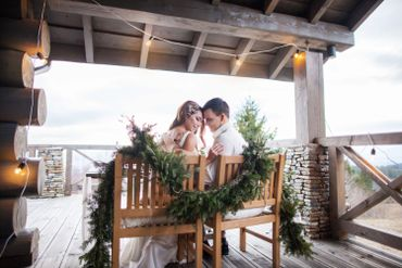 Brown outdoor wedding photo session decor